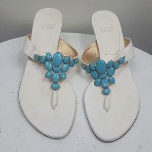 Stuart Weitzman turquoise jeweled t strap sandals